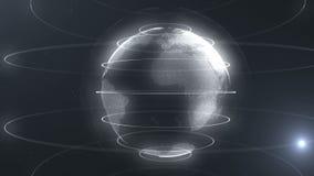 Esfera abstracta blanca Puntos blancos conectados con las líneas Interfaz de la globalización El planeta está colocando en el cen ilustración del vector