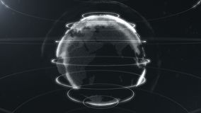 Esfera abstracta blanca Puntos blancos conectados con las líneas Interfaz de la globalización El planeta se sitúa en el centro ci ilustración del vector