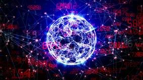 Esfera abstracta de la red global con números, triángulos y puntos móviles ilustración del vector