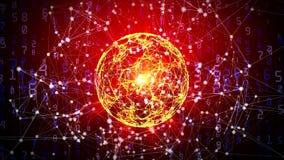 Esfera abstracta de la red global con números, triángulos y puntos móviles stock de ilustración