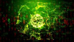 Esfera abstracta de la red global con números, triángulos y puntos móviles libre illustration