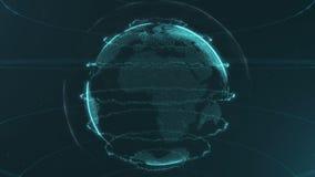 Esfera abstracta Puntos azules azules conectados con las líneas Interfaz de la globalización Esfera de la cosecha Mitad superior  stock de ilustración