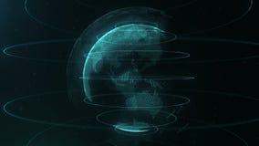 Esfera abstracta Puntos blancos conectados con las líneas azules azules y la profundidad del campo baja La esfera azul aparece de stock de ilustración
