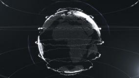 Esfera abstracta Puntos blancos cristalinos conectados con las líneas Interfaz de la globalización Acumulación de los puntos Ciér ilustración del vector