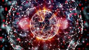 Esfera abstrata da rede digital com dividir-se do moletula ilustração stock