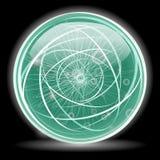 Esfera abstrata lustrosa verde Fotografia de Stock