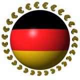 Esfera alemão da bandeira com euro Imagens de Stock Royalty Free