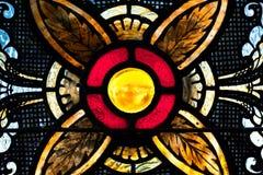 Esfera amarela no vitral Fotografia de Stock Royalty Free