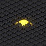 Esfera amarilla brillante en un grupo grande de casillas negras Fondo sobre individualidad ilustración del vector