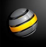 Esfera amarilla de plata abstracta Fotografía de archivo libre de regalías