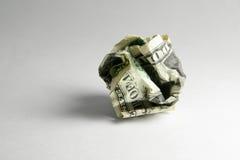 Esfera amarrotada do dólar dos EUA imagens de stock royalty free
