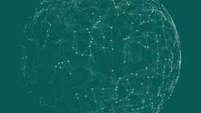 Esfera animada creciente de puntos y de líneas conectados ilustración del vector