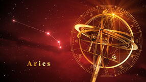 Esfera Armillary e constelação Aries Over Red Background Foto de Stock Royalty Free
