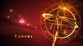 Esfera Armillary e constelação Taurus Over Red Background Fotografia de Stock Royalty Free