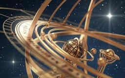 Esfera Armillary e estrelas no fundo azul Fotos de Stock