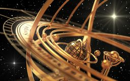 Esfera Armillary e estrelas no fundo preto Foto de Stock