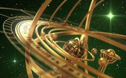 Esfera Armillary e estrelas no fundo verde Foto de Stock Royalty Free