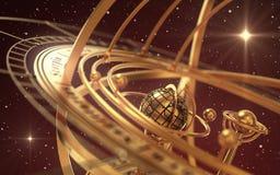 Esfera Armillary e estrelas no fundo vermelho Imagem de Stock