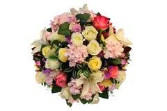 Esfera artificial del centro y de la decoración de flores en forma de la bola aislados en el fondo blanco para casarse y el tema  imágenes de archivo libres de regalías
