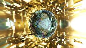 Esfera azul abstrata no fundo dourado rendição 3d Foto de Stock