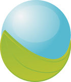 Esfera azul com folha Foto de Stock Royalty Free