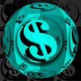 Esfera azul do dólar Fotografia de Stock