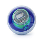 Esfera azul do giroscópio da potência, simulador de formação para a mão Imagem de Stock Royalty Free