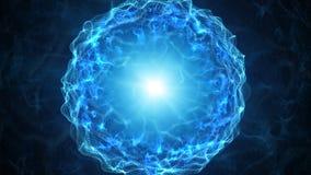 Esfera azul do plasma com cargas de energia Fotografia de Stock Royalty Free