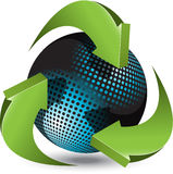 Esfera azul e setas verdes Imagem de Stock