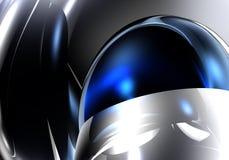 Esfera azul en el metall de plata ilustración del vector