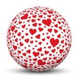Esfera blanca 3D con formas del corazón ilustración del vector
