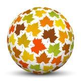 Esfera blanca 3D con la textura de la hoja de arce - otoño stock de ilustración