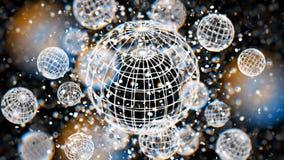 Esfera blanca de la rejilla del átomo, bokeh de la falta de definición defocused en el fondo negro, 3D representación, ejemplo 3D Foto de archivo