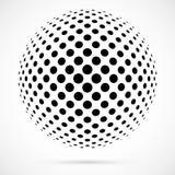Esfera branca da reticulação do vetor 3D Fundo esférico pontilhado logo Fotografia de Stock