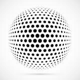 Esfera branca da reticulação do vetor 3D Fundo esférico pontilhado logo Fotos de Stock