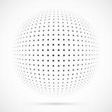 Esfera branca da reticulação do vetor 3D Fundo esférico pontilhado logo Foto de Stock