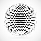 Esfera branca da reticulação do vetor 3D Fundo esférico pontilhado logo Foto de Stock Royalty Free