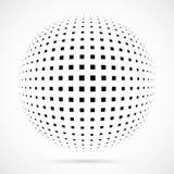 Esfera branca da reticulação do vetor 3D Fundo esférico pontilhado logo Imagem de Stock Royalty Free