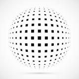 Esfera branca da reticulação do vetor 3D Fundo esférico pontilhado logo Fotos de Stock Royalty Free