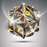esfera brilhante do ouro 3D Sumário do brilho do fractal do vetor Fotografia de Stock Royalty Free