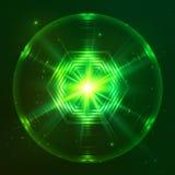 Esfera brillante verde del vector del techno Fotos de archivo libres de regalías