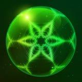 Esfera brillante verde del vector del techno Foto de archivo libre de regalías