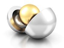 Esfera center dourada do conceito abstrato do negócio ilustração stock