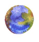 Esfera colorida da aquarela Pintura azul, amarela, marrom e vermelha imagens de stock