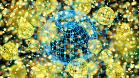 Esfera colorida de la rejilla del átomo, bokeh de la falta de definición defocused en el fondo negro, 3D representación, ejemplo  Fotos de archivo