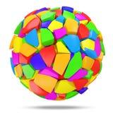 Esfera colorida quebrada en el fondo blanco Imagenes de archivo