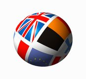 Esfera com bandeiras Fotografia de Stock
