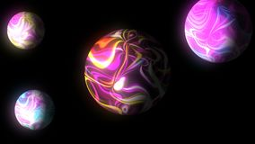 A esfera com linhas brilhantes de incandescência no preto, 3d rende o fundo, geração do computador Foto de Stock