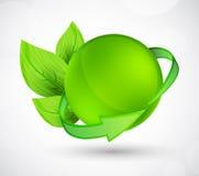 Esfera com seta e folhas Fotos de Stock Royalty Free