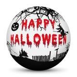 Esfera com texto feliz ensanguentado de Dia das Bruxas e as silhuetas pretas ilustração stock